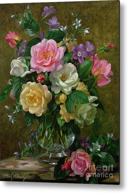 Still-life Metal Print featuring the painting Roses In A Glass Vase by Albert Williams