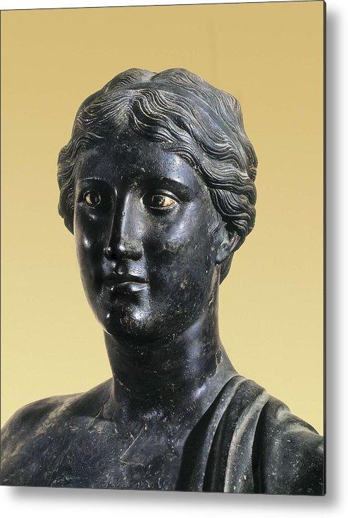Portrait Metal Print featuring the photograph Sappho 612-545 Bc. Greek Art. Sculpture by Everett