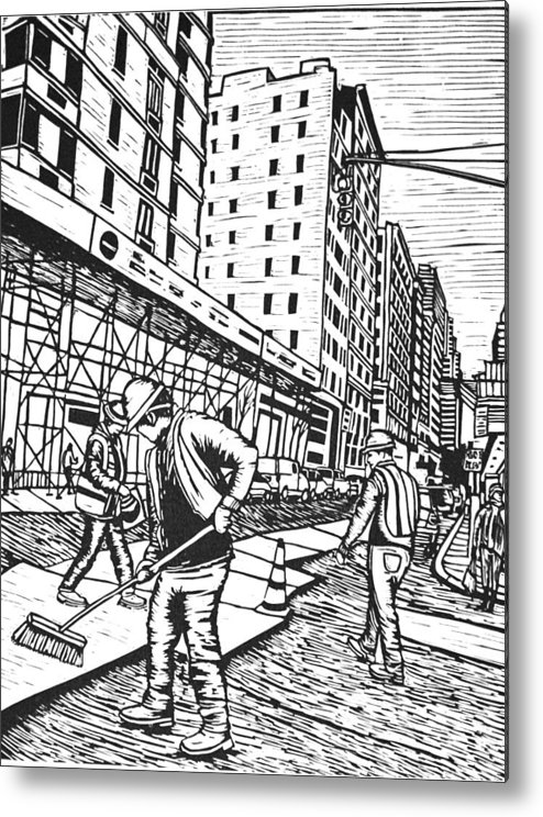 New York Metal Print featuring the drawing Street Work In New York by William Cauthern