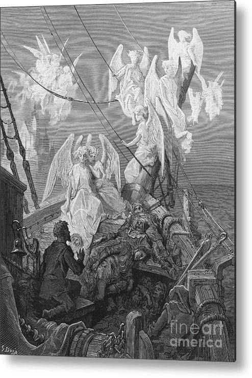 Angels; Ship; Vessel; Sailors; Dore Metal Print featuring the drawing The Mariner Sees The Band Of Angelic Spirits by Gustave Dore