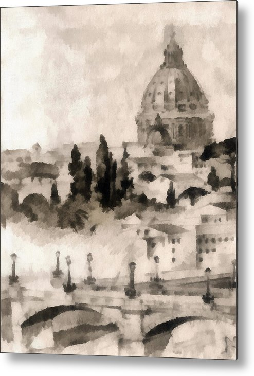 Nature Metal Print featuring the painting By Italy by Odon Czintos