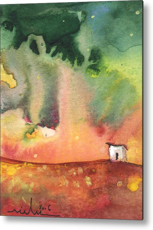 Travel Metal Print featuring the painting A Little House On Planet Goodaboom by Miki De Goodaboom