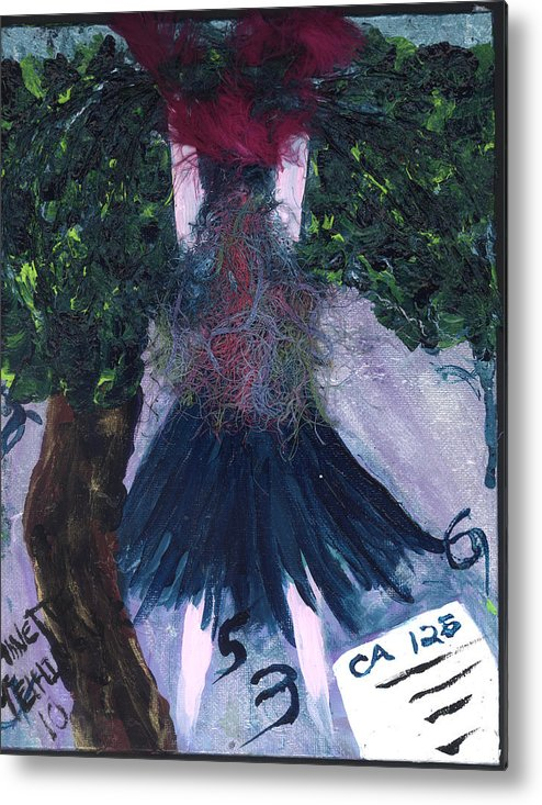 Women Metal Print featuring the painting Althea Awaits Her Ca 125 Report by Annette McElhiney