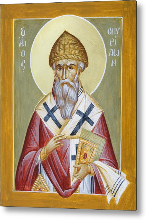 St Spyridon Metal Print featuring the painting St Spyridon by Julia Bridget Hayes