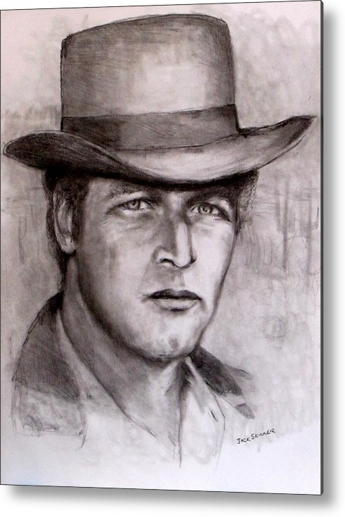 Butch Cassidy Metal Print featuring the drawing Butch Cassidy by Jack Skinner