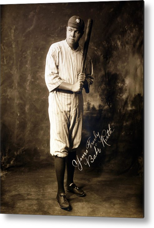 1920s Metal Print featuring the photograph Babe Ruth, 1920 by Everett