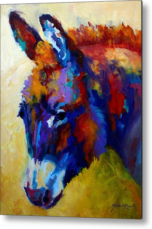 Western Metal Print featuring the painting Burro II by Marion Rose