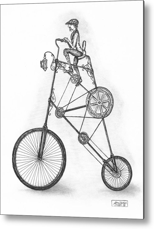 Pen & Ink Metal Print featuring the drawing Contraption by Adam Zebediah Joseph