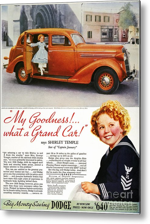 1936 Metal Print featuring the photograph Dodge Automobile Ad, 1936 by Granger