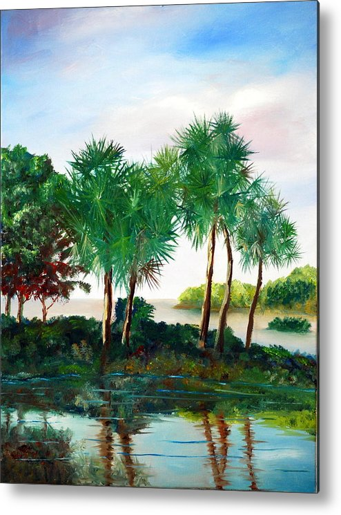 Palms Metal Print featuring the painting Isle Of Palms by Phil Burton