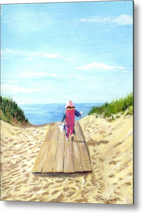 Beach Metal Print featuring the painting March To The Beach by Jack Skinner