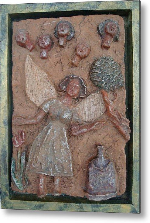 Clay Metal Print featuring the relief Natividad 1 by Lorna Diwata Fernandez