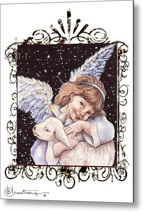 Angel With Lamb Metal Print featuring the painting One Lamb by Denise Armstrong