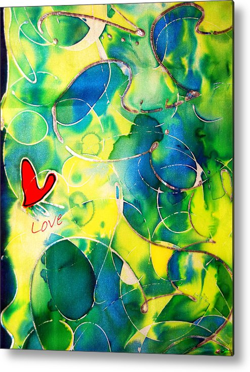 Abstract Metal Print featuring the painting Silk Painting With A Heart by Alexandra Jordankova