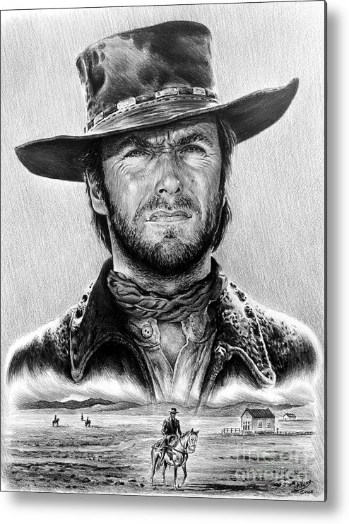 Clint Eastwood Metal Print featuring the drawing The Stranger Bw 1 Version by Andrew Read