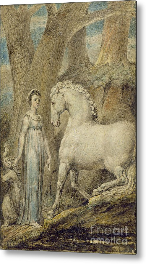 Woodland Metal Print featuring the painting The Horse by William Blake