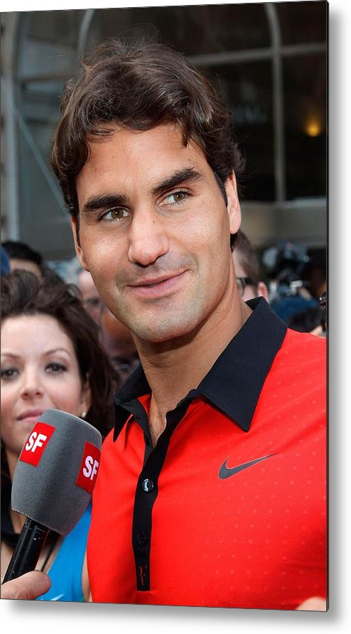 Roger Federer Metal Print featuring the photograph Roger Federer At A Public Appearance by Everett