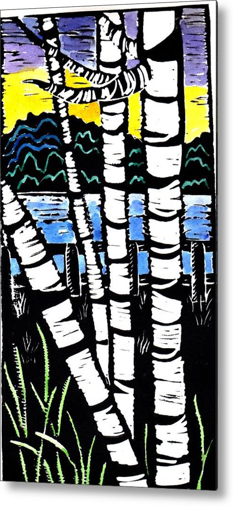 Birch Tree Metal Print featuring the painting Birch Lake by Jane Croteau