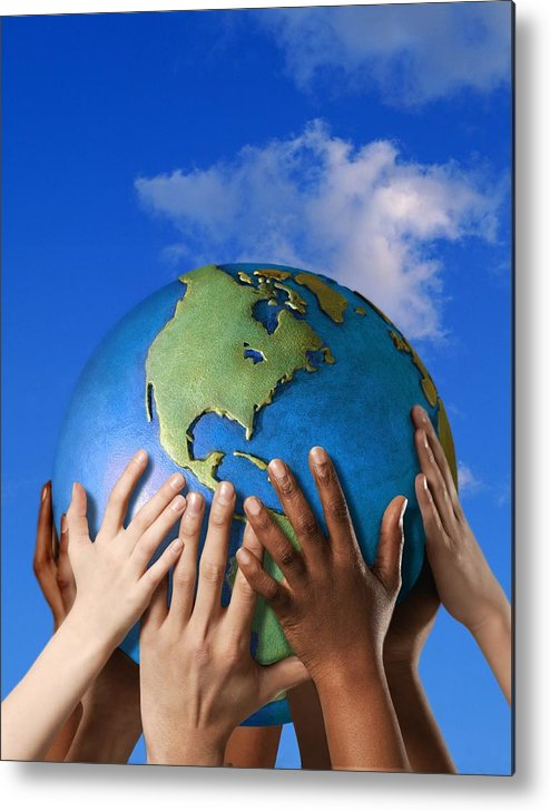 Adult Metal Print featuring the photograph Hands On A Globe by Don Hammond