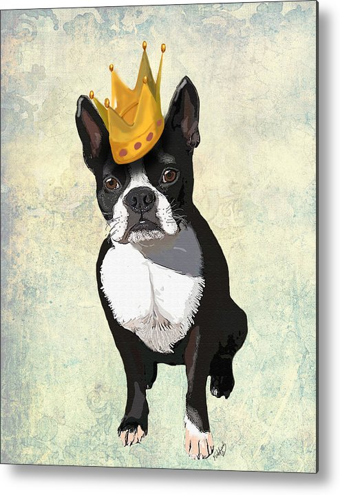 Boston Terrier Framed Prints Metal Print featuring the digital art Boston Terrier With A Crown by Kelly McLaughlan
