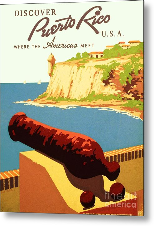 Art Deco Metal Print featuring the painting Discover Puerto Rico by Pg Reproductions