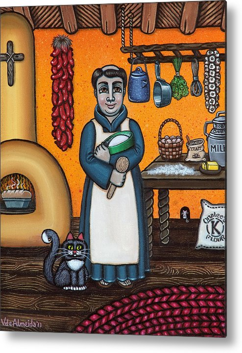 San Pascual Metal Print featuring the painting St. Pascual Making Bread by Victoria De Almeida