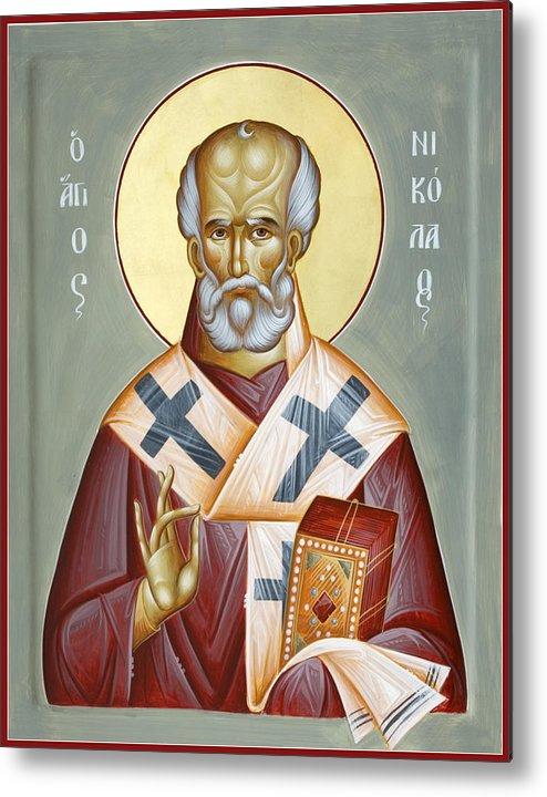 St Nicholas Of Myra Metal Print featuring the painting St Nicholas Of Myra by Julia Bridget Hayes