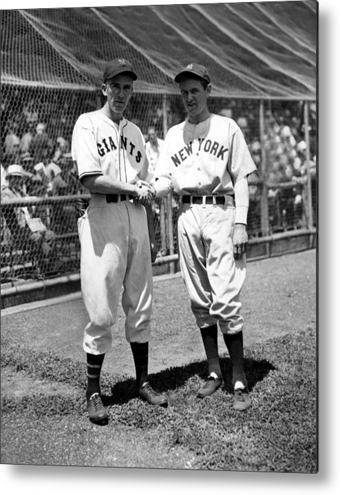 1930s Candid Metal Print featuring the photograph Carl Hubbell & Vernon Lefty Gomez by Everett