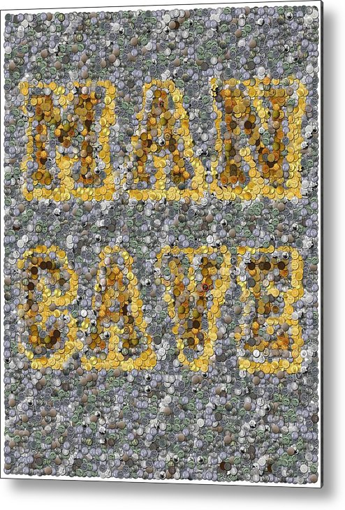 Man Cave Metal Print featuring the mixed media Man Cave Coin Mosaic by Paul Van Scott