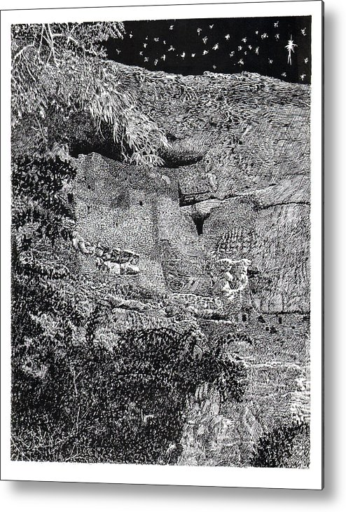 Framed Prints Of Pen And Ink Art Prints Of Montezuma Castle National Monument Metal Print featuring the drawing Montezuma Castle by Jack Pumphrey