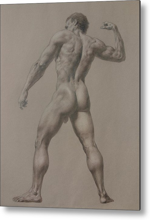 Man Metal Print featuring the drawing Nude-8 by Valeriy Mavlo