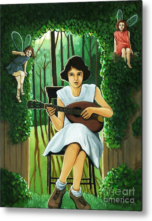 Fantasy Metal Print featuring the painting Secret Garden Fantasy Fairy by Linda Apple