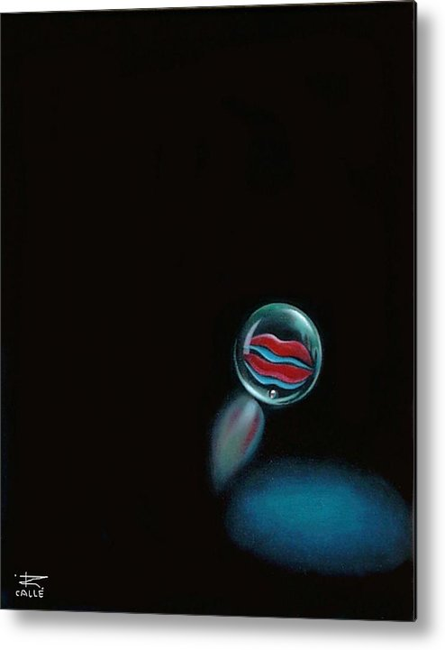 Marble Metal Print featuring the painting A Woman's Kiss Sealed Forever by Roger Calle