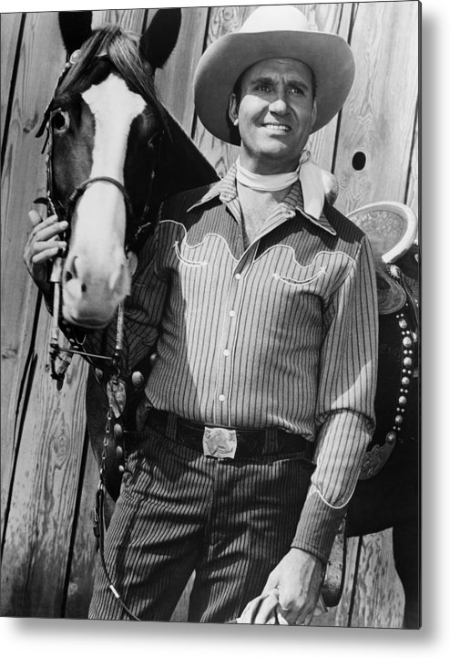 1950s Movies Metal Print featuring the photograph Champion And Gene Autry by Everett