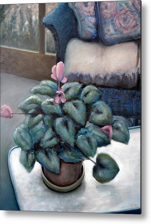Cyclamen Metal Print featuring the painting Cyclamen And Wicker by Michelle Calkins