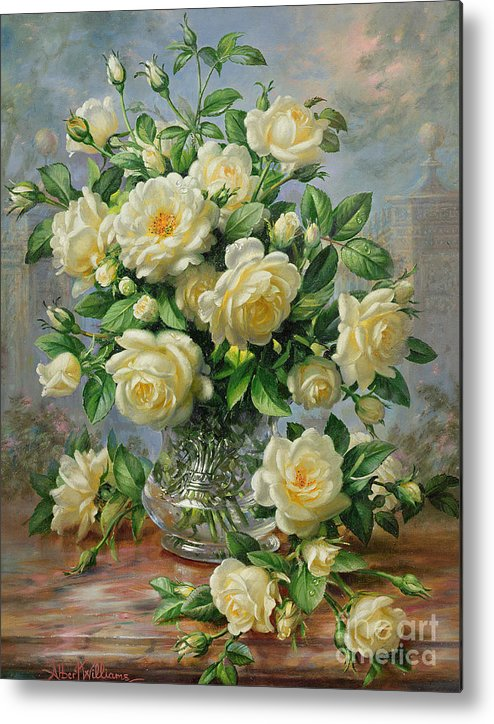 In Honour Of Lady Diana Spencer (1961-97); Still Life; Flower; Rose; Arrangement; Princess Of Wales (1981-96); Homage; Yellow; Flowers; Leafs Metal Print featuring the painting Princess Diana Roses In A Cut Glass Vase by Albert Williams