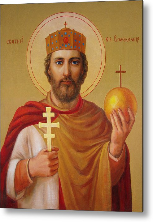 Saint Metal Print featuring the painting Saint Volodymyr by Svitozar Nenyuk