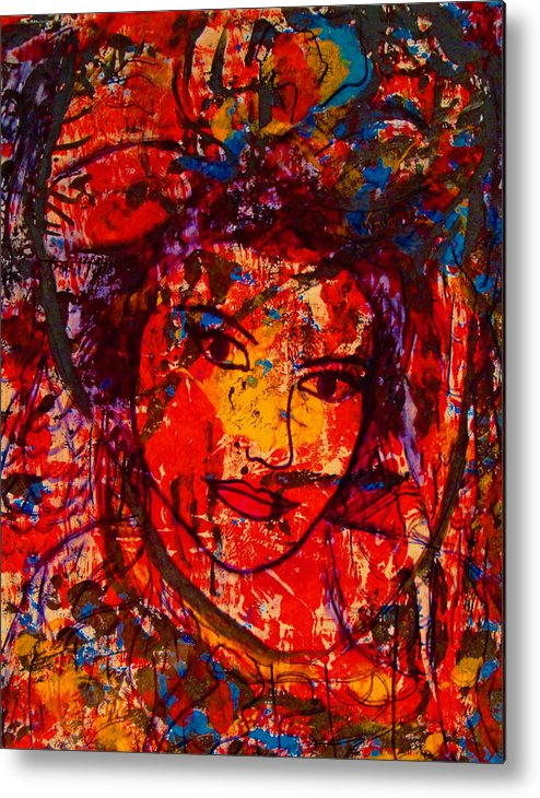 Portrait Metal Print featuring the painting Self-portrait-5 by Natalie Holland