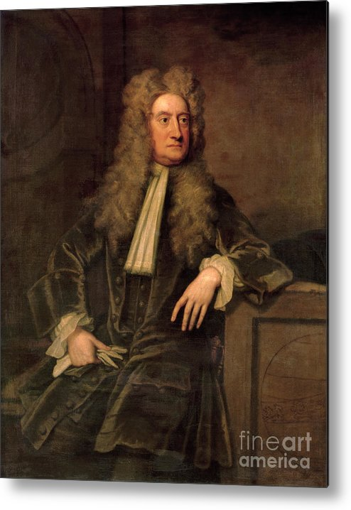 Sir Metal Print featuring the painting Sir Isaac Newton by Sir Godfrey Kneller
