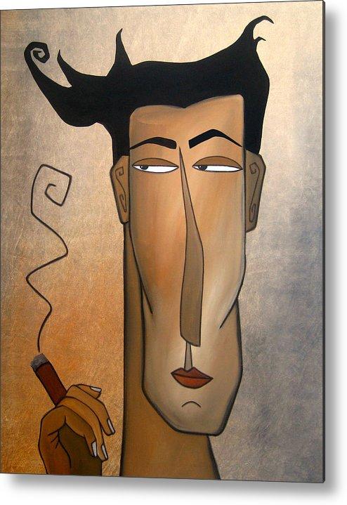 Fidostudio Metal Print featuring the painting Smoke Break by Tom Fedro - Fidostudio