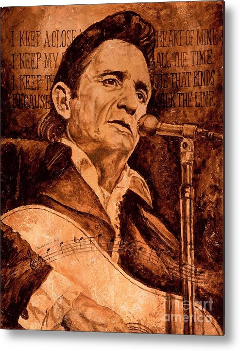 Johnny Cash Metal Print featuring the painting The American Legend by Igor Postash