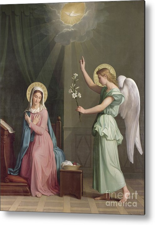 The Metal Print featuring the painting The Annunciation by Auguste Pichon