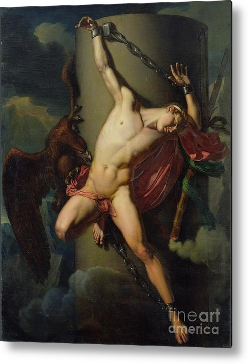 The Torture Of Prometheus Metal Print featuring the painting The Torture Of Prometheus by Jean-Louis-Cesar Lair