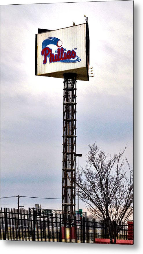 Phillies Metal Print featuring the photograph Phillies Stadium Sign by Bill Cannon