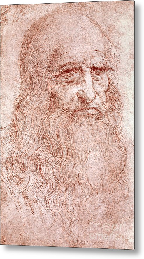 Old Metal Print featuring the painting Portrait Of A Bearded Man by Leonardo da Vinci