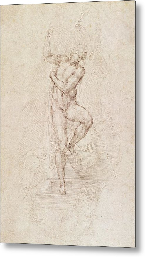 Drawing Metal Print featuring the painting W53r The Risen Christ Study For The Fresco Of The Last Judgement In The Sistine Chapel Vatican by Michelangelo Buonarroti