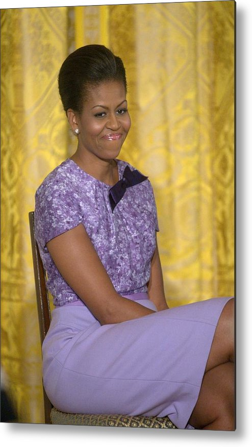 Michelle Obama Metal Print featuring the photograph Michelle Obama Wearing An Anne Klein by Everett