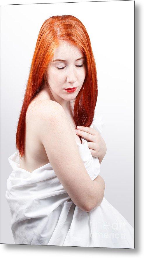 Red Head Metal Print featuring the photograph Beautiful Redhead Studio Shot by Gabriela Insuratelu