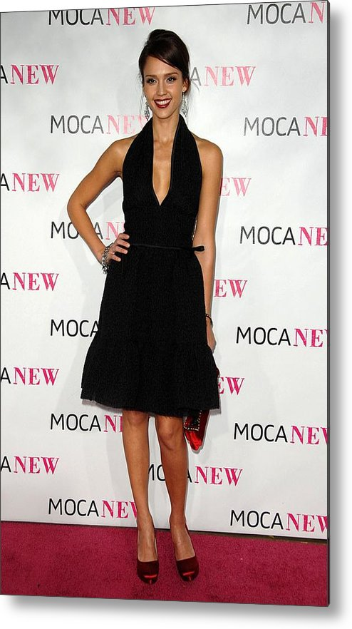 Jessica Alba Metal Print featuring the photograph Jessica Alba Wearing A Prada Dress by Everett