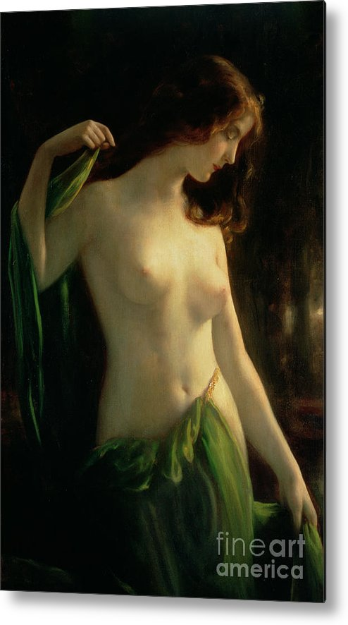 Water Nymph Metal Print featuring the painting Water Nymph by Otto Theodor Gustav Lingner
